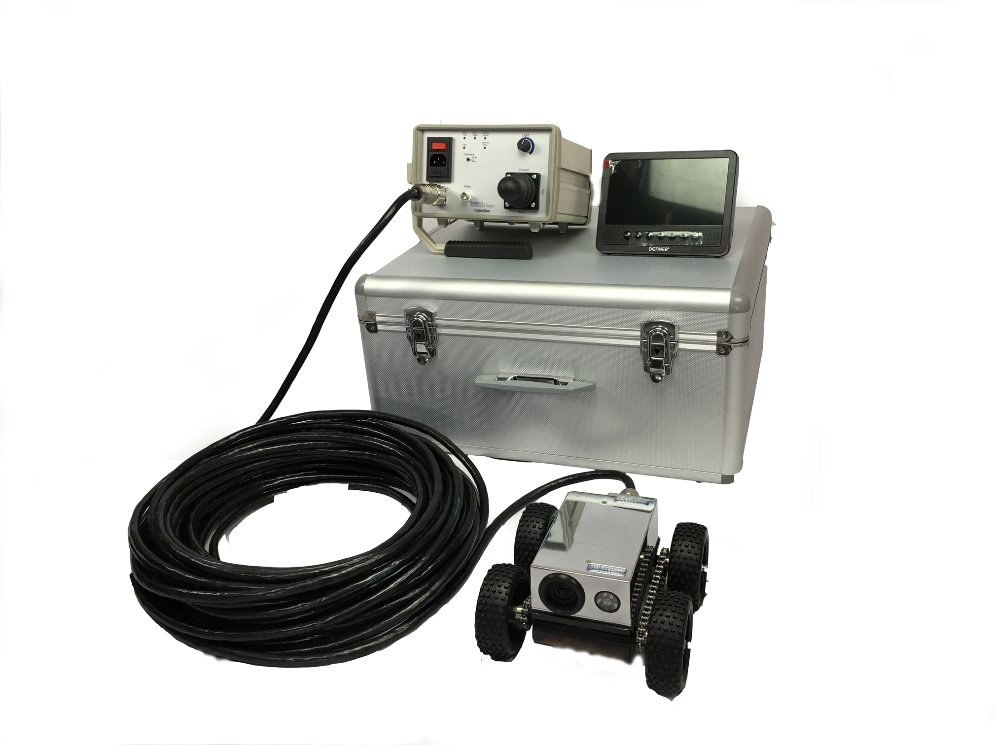 Inspection robot, Control box, LCD/TV Monitor, 30m cable and Transport box